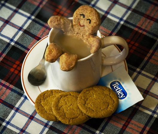 Gingerbread man having bath in cup of Tetley tea