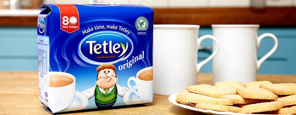 Tetley tea with biscuits