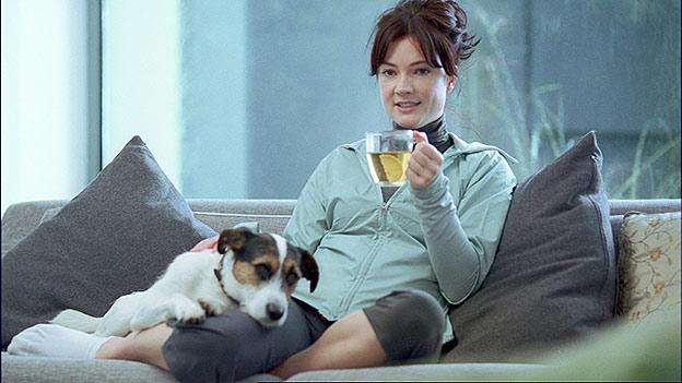 enjoying green tea