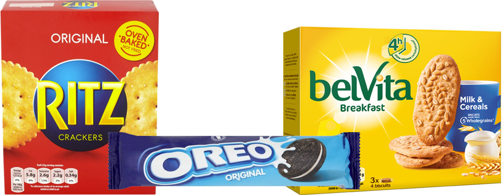 Belvita, Ritz and Oreo biscuits