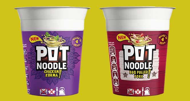 Pot Noodle pulled pork and chicken korma variants