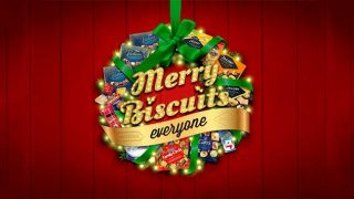 'Merry Biscuits Everyone' holly wreath