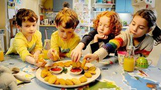 Kids eating Quorn Crispy Nuggets