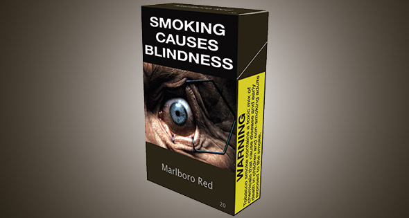 "Plain cigarette packet featuring large ""Smoking causes blindness"" warning and graphic image of diseased eye."