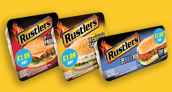 Packs of Rustlers burgers