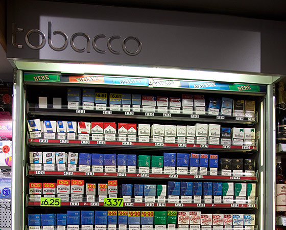 Shop cigarette display