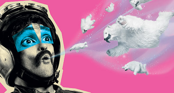 Motorcyclist breathing out tiny polar bears in screengrab from Halls TV advert