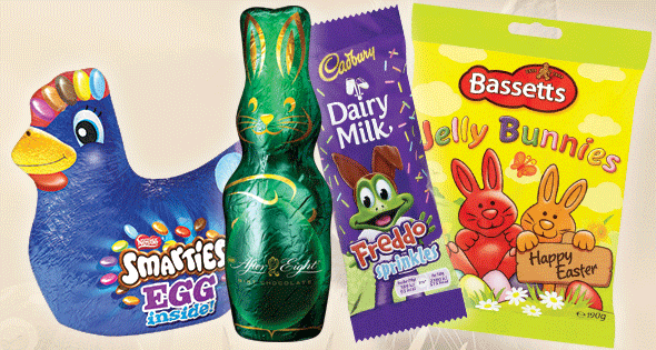 Assortment of easter-themed chocolate treats
