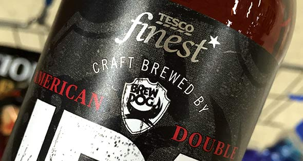 "Bottle of Tesco finest beer ""craft brewed by Brewdog"""