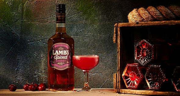 Bottle of cherry flavour Lamb's Spiced Rum