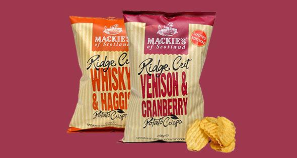 Packs of Mackie's Ridge Cut crisps