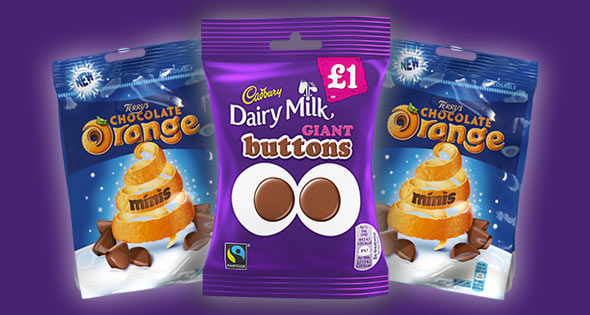 Giant chocolate buttons and chocolate orange minis