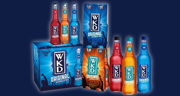 Bottles and cans of Wkd