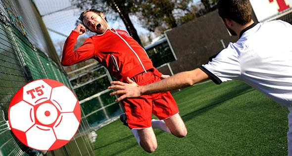 5-a-side player jumps for joy