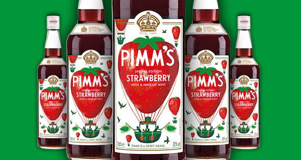 Bottles of Pimm's Strawberry with a Hint of Mint