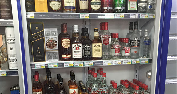 bottles of spirits on shelves