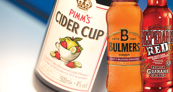 Pimm's Cider Cup, Bulmers Zesty Blood Orange Cider and Desperadoes Red