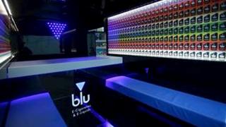 Interior of Blu's vape van