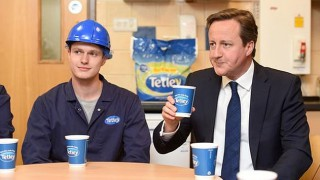 Prime Minister David Cameron drinks Tetley tea