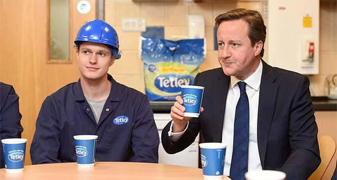 Prime Minister David Cameron drinks Tetley tea