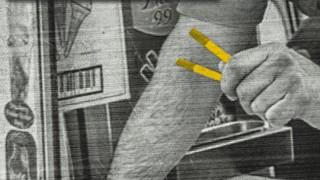 Ice cream van operator holding counterfeit cigarettes