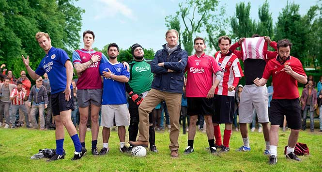 Line-up of footballers from Carlsberg ad