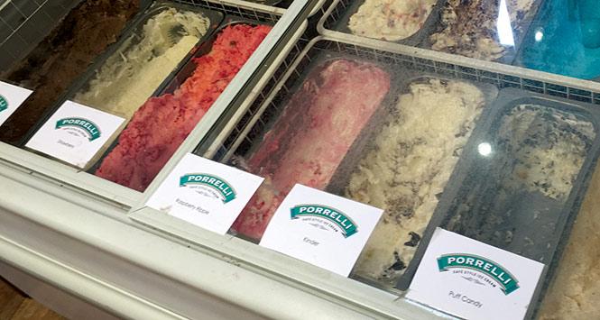 Freezer stocked with Porelli's ice cream