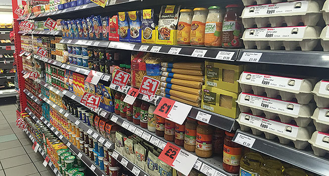 Food aisle in convenience store
