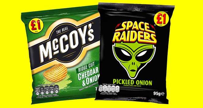 McCoy's and Space Raiders pricemarked packs