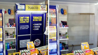 Before and after shots of removed tobacco gantry