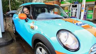 Ian Jackson in Gulf-branded Mini Cooper