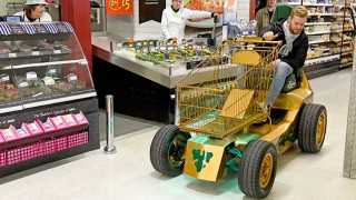 Carlsberg's motorised shopping trolley