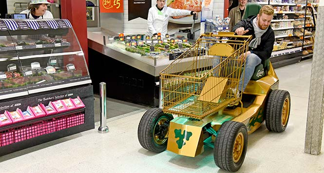 Carlsberg's motorised shopping trolley