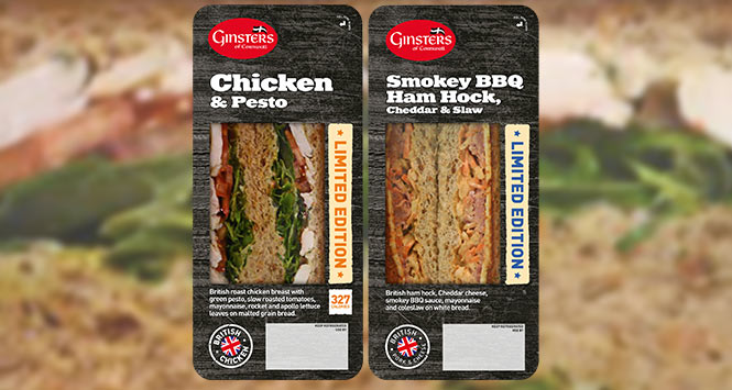 Ginsters Chicken with Pesto and Smokey BBQ with Ham Hock sandwiches