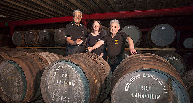 Barrels of Lagavulin whisky