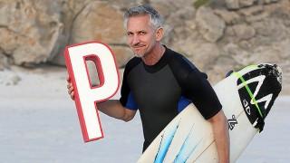 Gary Lineker holding a letter P