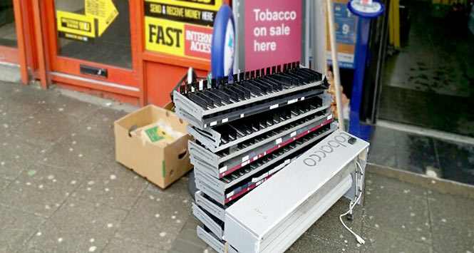 Tobacco gantry on pavement