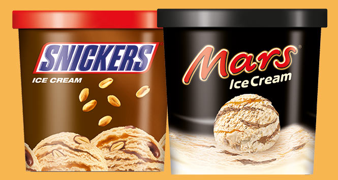 Snickers and Mars ice cream tubs