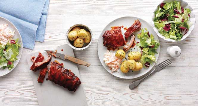 Spar BBQ ribs and baby potatoes