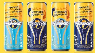 Orangina upside down cans
