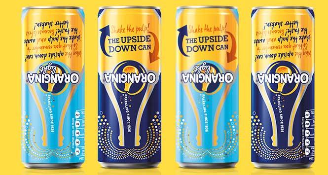 Orangina upside down cans