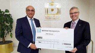 Zameer Choudrey, Bestway Group with Peter Wanless, NSPCC