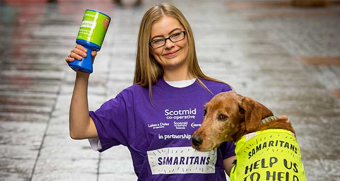Scotmid colleague with Samaritans dog