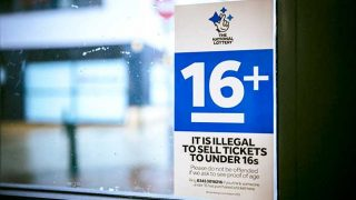 Camelot's National Lottery 16+ sign