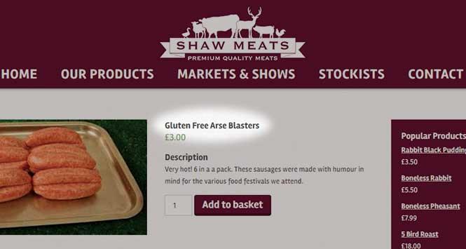 Shaw Meats' gluten-free arse blasters