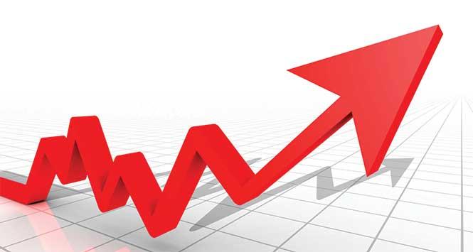 Upward-trending sales graph