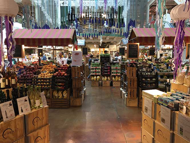 The ground floor, laid out like a fruit and veg market, sets the tone.