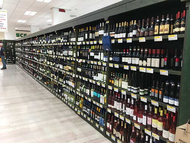 Not many branded wines available here; most of it is local/ regional and very, very little of it is not Italian.