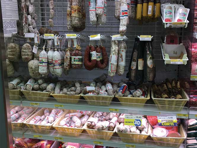 The dried and cured meats section is extensive and appetising.