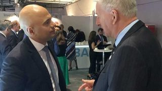 Home Secretary Sajid Javid and Mike Mitchelson